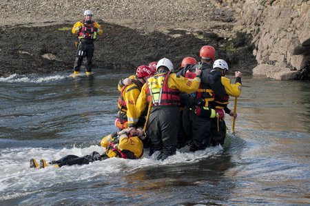 RNLI Flood Rescue Team training to rescue casualties in flood waters credit RNLI Simon Culliford MS
