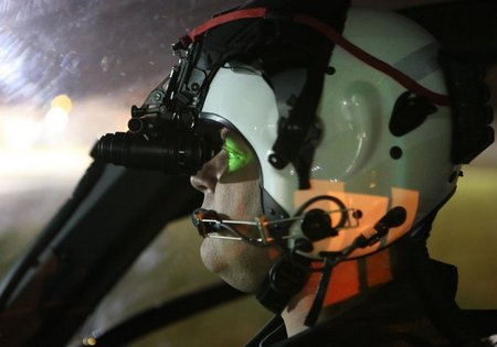 Captain Chris Sherriff wearing night vision goggles